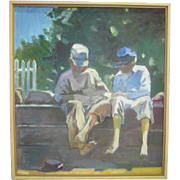 "SALE ""Homer's Boys"" Oil Painting by George Tapley"