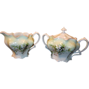 R.S. Prussia White Creamer and Sugar