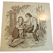 SALE Village Life Scene Transfer Tile by William Wise