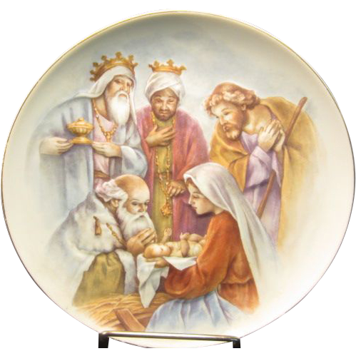 """Holy Family with Wise Men in Raised Relief by """"Homco"""" #5259"""