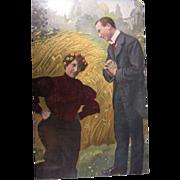"SOLD Vintage German Postcard ""Gentleman Asking A Lady A Question"""