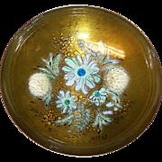 "SALE Sacha Brastoff Enamel on Copper 8 1/4"" Bowl on Pedestal"