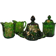 "Northwood Glass ""Gold Rose"" 4 Piece Set in Emerald Green"