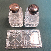 Cut Glass and Sterling Salt and Pepper Shakers with Holder