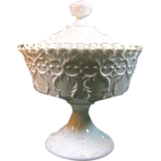 Fenton Spanish Lace with Silver Crest Footed Candy Box