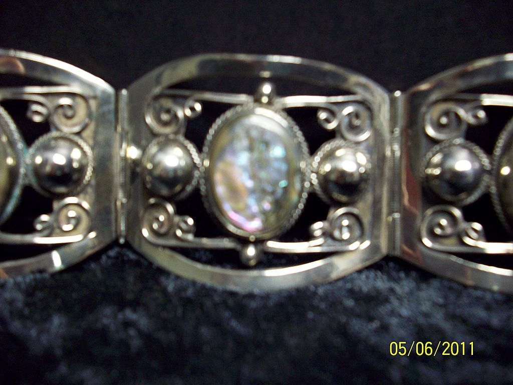 Sterling and Abalone linked bracelet.
