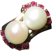 SALE Pearl and Ruby Ring in 18K Gold