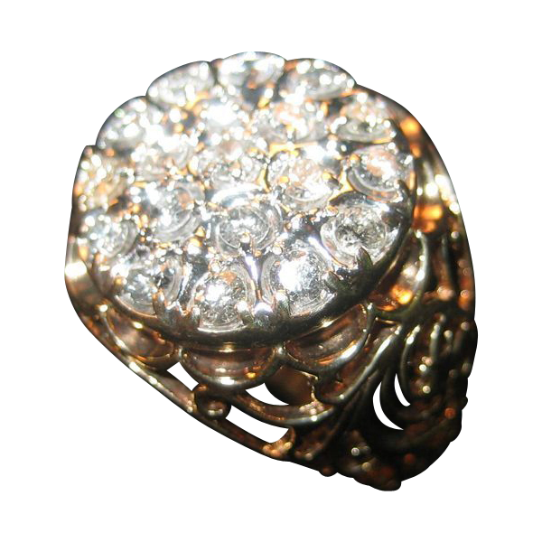 10 K Gold Men's Ring with 19 Diamonds