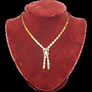 Antique Bookchain Cameo Drop Necklace