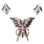 Hobe & Hematite Rhinestone Brooch and Earring Set