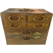 Wood and Brass Jewelry Box K. S. Japan
