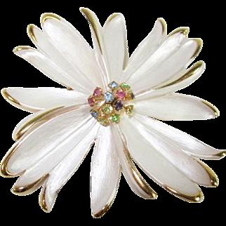 SALE Park Lane Floral, White Enamel and Multi-color Rhinestone Pin