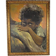 SALE Victor Loyola Oil Painting on Canvas of a Boy With Beautiful Eyes