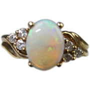 SOLD Opal and Diamond 14K Gold Ring
