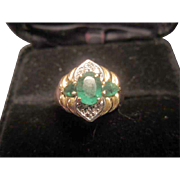 SALE Emeralds and Diamonds Cluster Ring 14K Gold