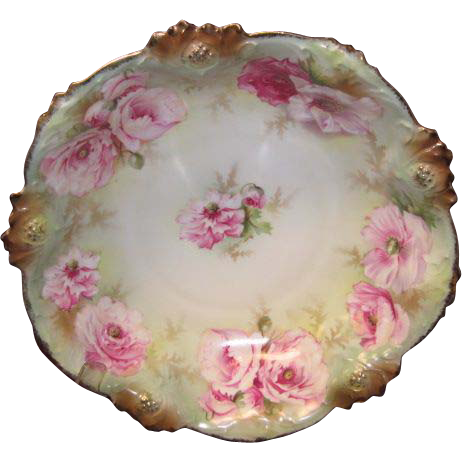 """R. S. Prussia Bowl w/pink Flowers, """"Red Star"""""""