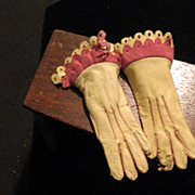 REDUCED Antique French Leather Gloves Miniature For Fashion Doll