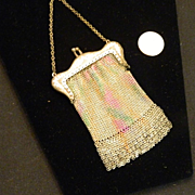 REDUCED Antique French Miniature Doll Mesh Purse Enamel Unusual