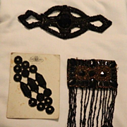 REDUCED Antique Black Beads Motif For Dolls Doll Clothing Sewing Jet Black Beads