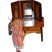 REDUCED Old Miniature Doll Vanity W/ Mirror Dollhouse Wood