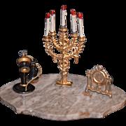 REDUCED Antique Miniature Doll Dollhouse Candelabra Telephone Clock Metal
