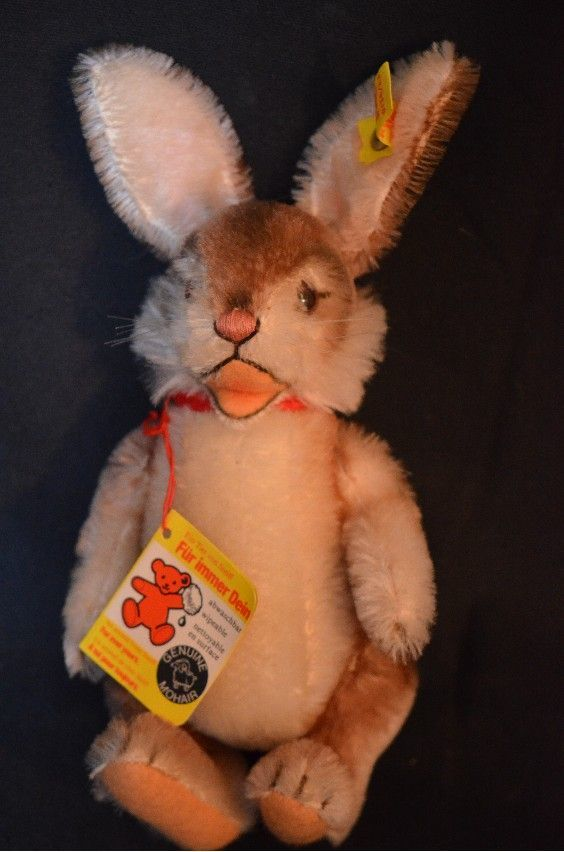 Vintage Steiff Niki Rabbit Jointed Animal Mohair W/ Tag & Button For Doll Toy