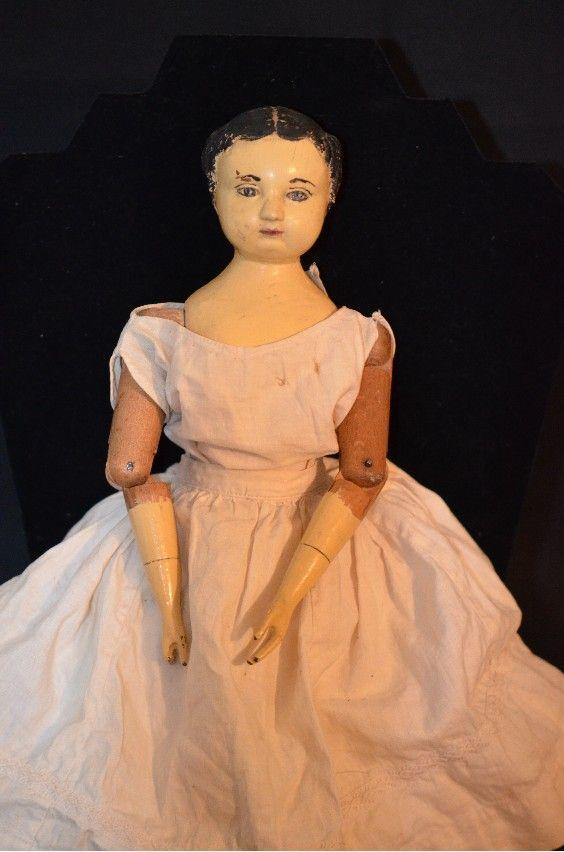 Antique Doll Joel Ellis Wood Metal Jointed From