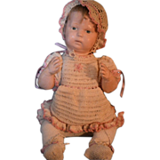 REDUCED Antique Wood Doll Schoenhut Character Pouty Dressed Baby Face