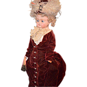 SOLD Antique Wax Over Papier Mache Doll Fab Clothes Bulging Glass Eyes