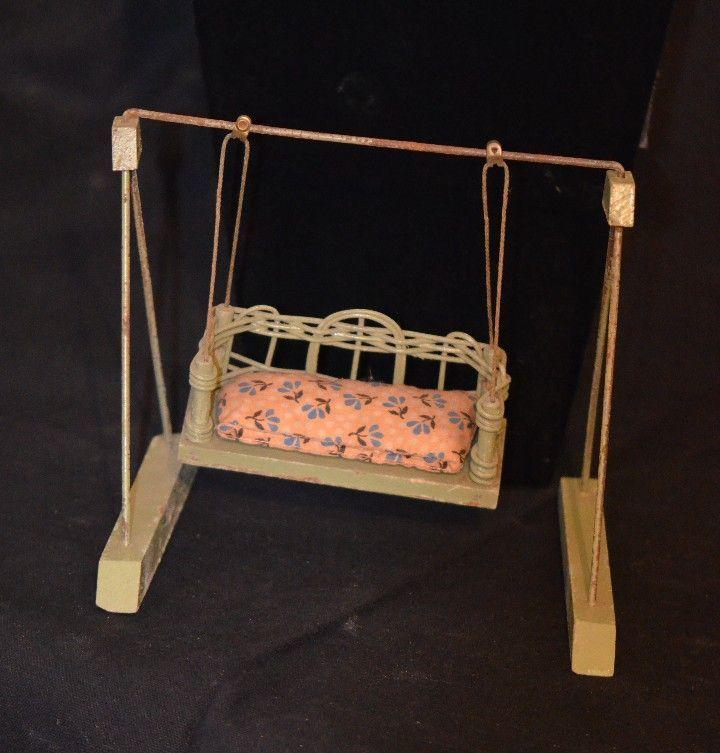 Old Miniature Wicker Wood Doll Swing Dollhouse From