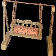REDUCED Old Miniature Wicker Wood Doll Swing Dollhouse
