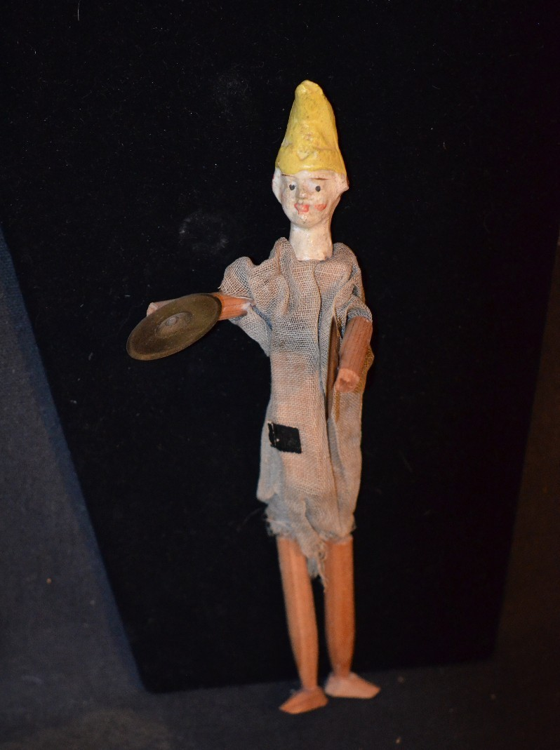 Antique Doll Wood & Papier Mache Jester Mechanical Playing Cymbals