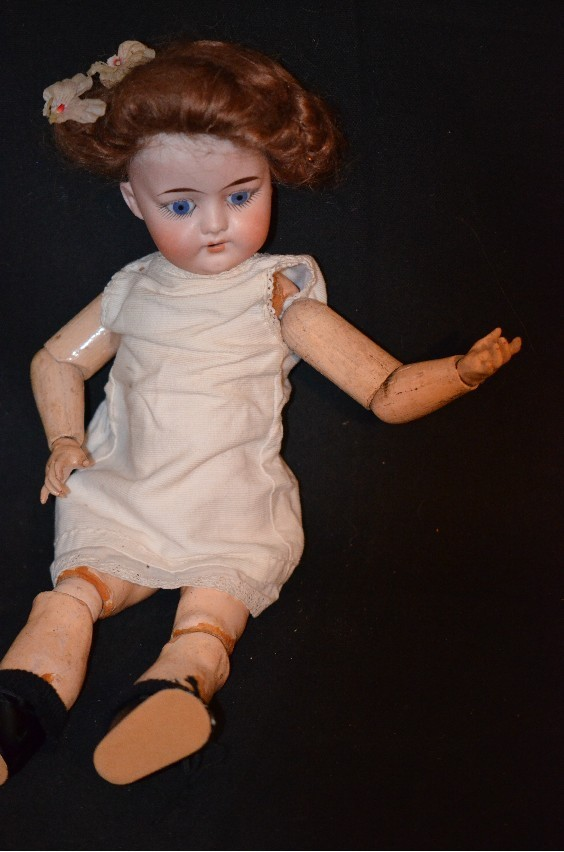 Antique Doll Bisque DEP Wood & Composition Mystery