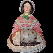 REDUCED Antique Doll Half Doll China Head Unusual Staffordshire