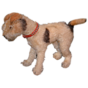 SOLD Antique Doll Toy Mohair Terrier Dog W/ Collar Steiff - Red Tag Sale Item