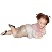 REDUCED Antique Doll Miniature All Bisque Unusual Piano Baby
