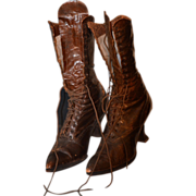 REDUCED Antique Boots Lace Up Heels Wonderful