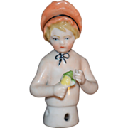 REDUCED Antique Doll China Half Doll Girl W/ Bonnet