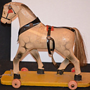 REDUCED Antique Doll Pull Toy Horse Wood Carved on Wheels