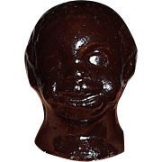 REDUCED Antique Black African American Doll Head Character Papier Mache