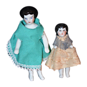REDUCED Antique Doll Pair Set Frozen Charlotte Dolls China Head