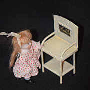 REDUCED Antique Doll Miniature All Bisque W/ Tin Wash Stand