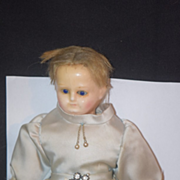 REDUCED Antique Doll Wax Over Papier Mache Glass Eyes Beautiful