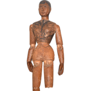REDUCED 26 inch Antique Doll Carved Wood Articulated Body Mannequin Sculpture Large
