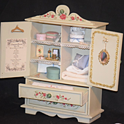 REDUCED Wonderful Vintage Trousseau Cabinet W/ Miniatures Linens BeBe & More FAB For Fashion D