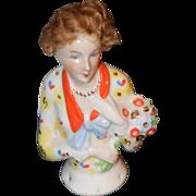 REDUCED Antique Doll Half Doll China Head W/ Wig Fancy