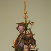 REDUCED Old Feather Tree W/ Old Ornaments For Doll Christmas Tree