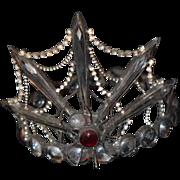 REDUCED Vintage Doll Teddy Bear Tiara Crown Rhinestone Spider Unusual