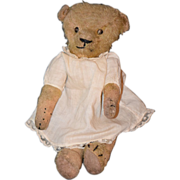 REDUCED Antique Bear For Doll Jointed Mohair Crier Adorable Small Size