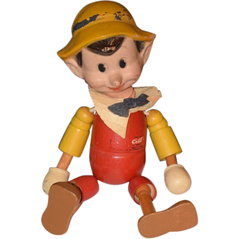 Antique doll ideal pinocchio doll wood wood from oldeclectics on ruby